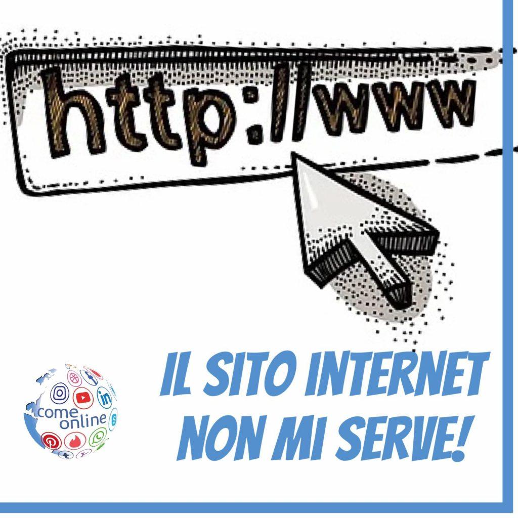url sito web e logo come online con la scritta il sito internet non mi serve